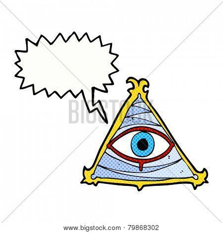 cartoon mystic eye symbol with speech bubble