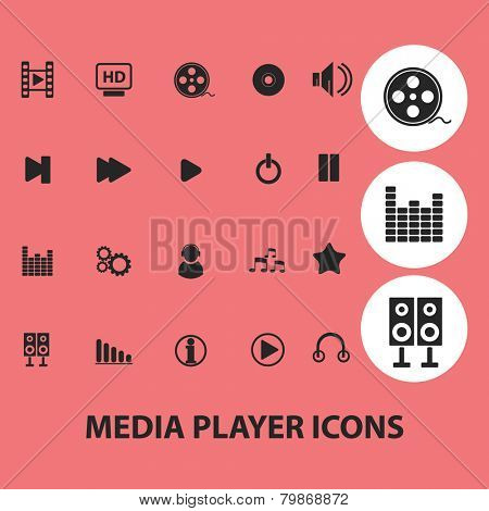 media, audio, cinema player icons set, vector