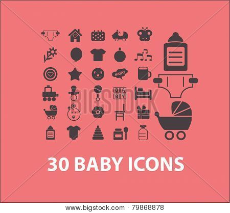 baby, children, toys, play icons, signs, illustrations, silhouettes set, vector