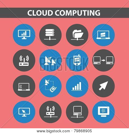 cloud computing, sever, network icons, signs, illustrations, silhouettes set, vector
