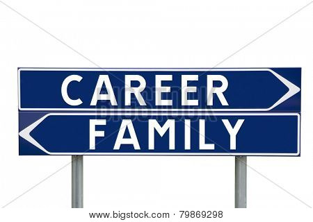 Blue Direction Signs with choice between career or family isolated on white background