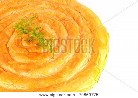 Fresh Baked Mediterranean Pastry Pie, Filled With Cheese, Garnished With Dill
