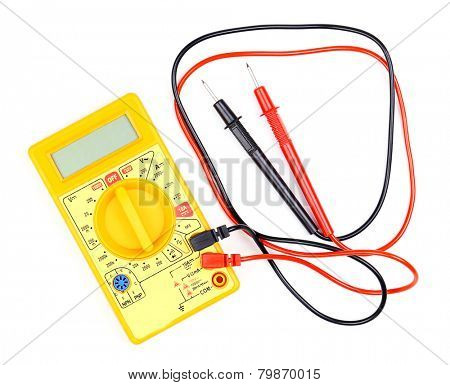 Digital multimeter isolated on white