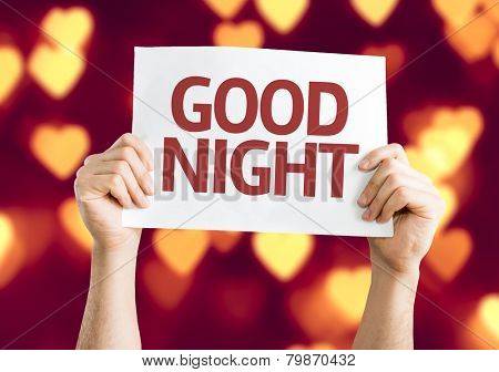 Good Night card with heart bokeh background