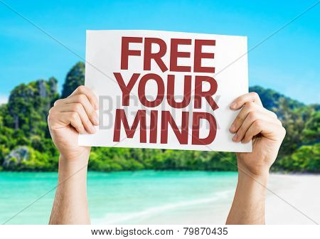 Free Your Mind card with a beach on background