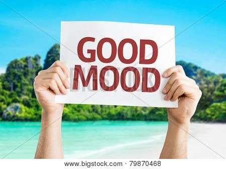 Good Mood card with a beach on background