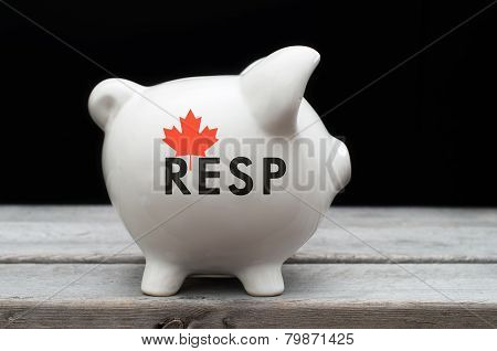 Canadian Registered Education Savings Plan, Resp Concept With White Piggy Bank