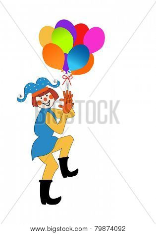 Isolated Clown Jester with balloons