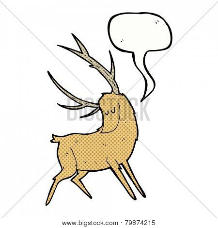 cartoon stag with speech bubble