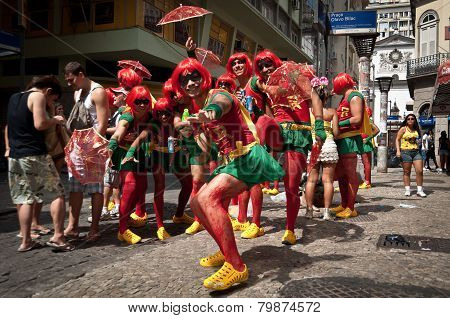 Brazilians in the street during Carnival