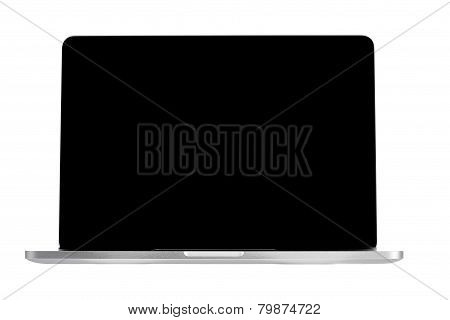 Modern Compact Laptop Computer With Black Display Screen Isolated on White Background