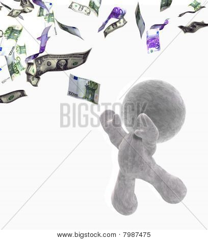 abstract 3D cartoon of a soft toy man trying to catch a bank note, Illustration on white background