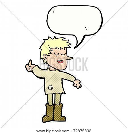 cartoon poor boy with positive attitude with speech bubble