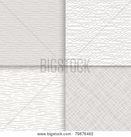 Geometric doodle seamless patterns set