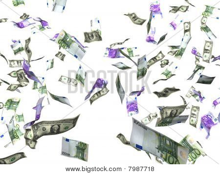 Isolated euro and dollar bank notes falling down on white background, Illustration on white background
