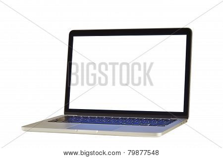Modern Compact Laptop Computer With Transparent Display Screen And Background