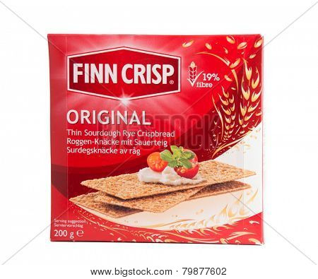 DEPEW, OK, USA - January 11th, 2015: Box of Finn Crisp thin sourdough rye bread made by Vaasan Oy. Vaasan Oy is the largest thin crisp producer in the world. It was founded in 1849 in Vaasa, Finland.