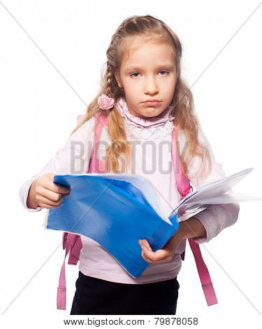 Sad child with schoolbag. Girl with school bag isolated on white