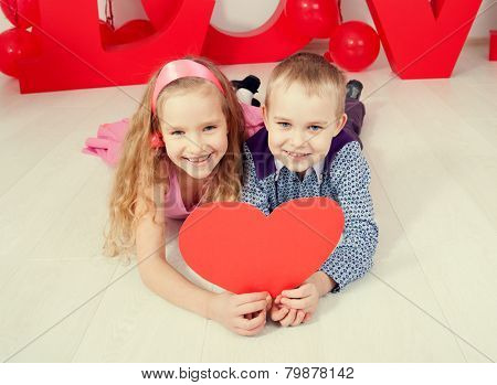 Children's  love. Decoration for celebration. Valentine's, mother's day or weddings