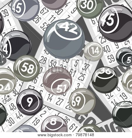 Bingo seamless background with balls and cards