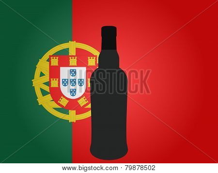 Portuguese Flag With A Bottle Of Wine