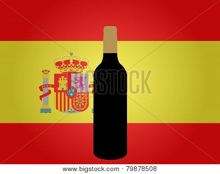 Spanish Flag With A Bottle Of Wine