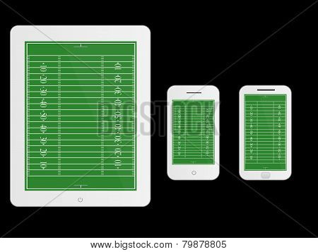 Mobile Devices With American Football Field White