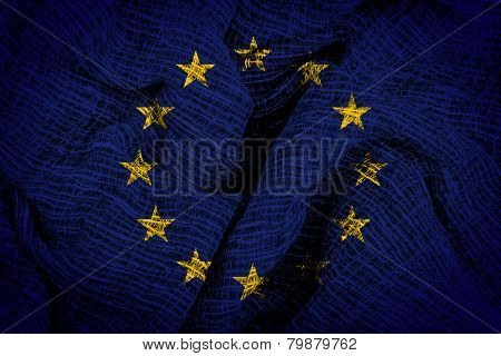 Euro flag on fabric surface