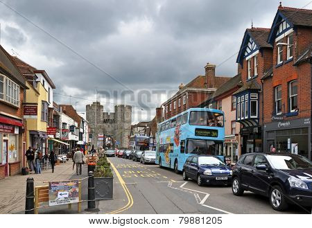 Canterbury, United Kingdom - Main Street And Gates.