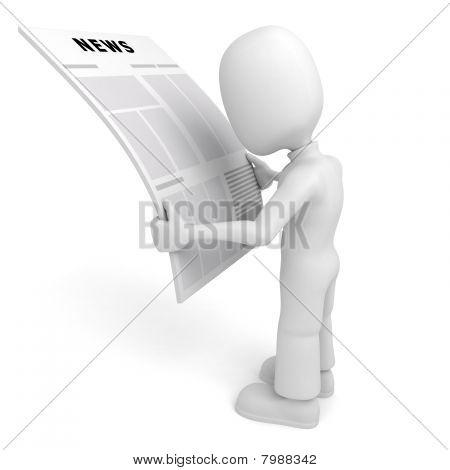 hombre 3D leyendo las noticias