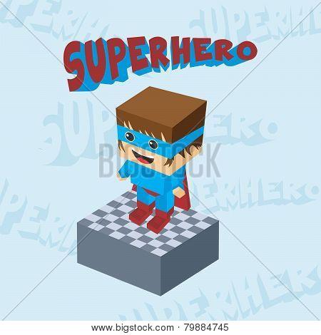 block isometric cartoon hero
