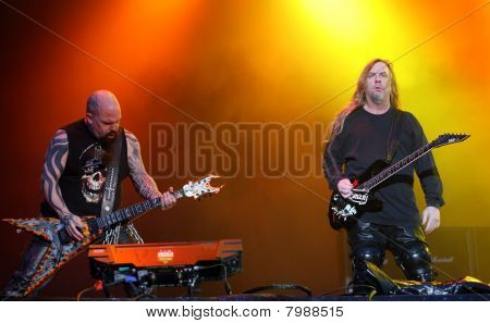 Guitarists of american death metal group Slayer Kerry King (L) and Jeff Hanneman (R) on Sonisphere f