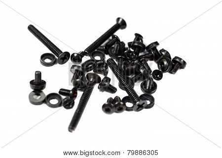 Black bolts closeup photo