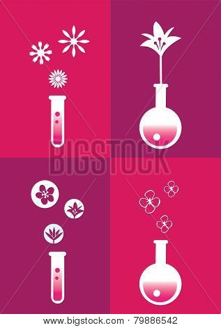 Perfume Fragrance Concept Symbols And Icons Vector Illustration