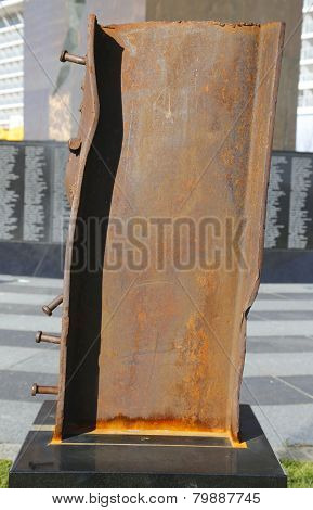 Column from World Trade Center site at the September 11 memorial in Bayonne, New Jersey