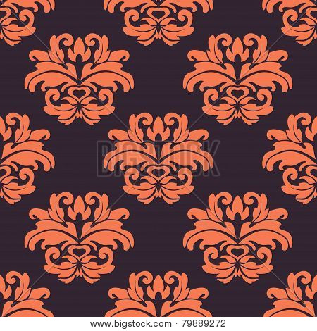Purple and peach floral seamless pattern