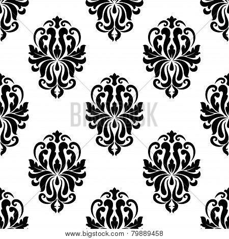 Classic black and white damask seamless pattern
