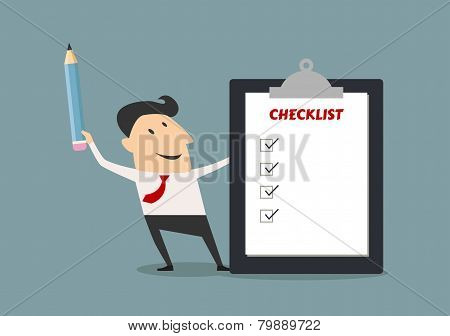 Businessman holding checklist board and pencil