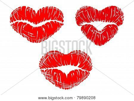 Red lip prints with heart shapes