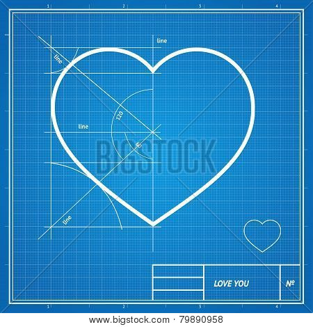 Vector Holiday Card. Heart on blueprint paper.