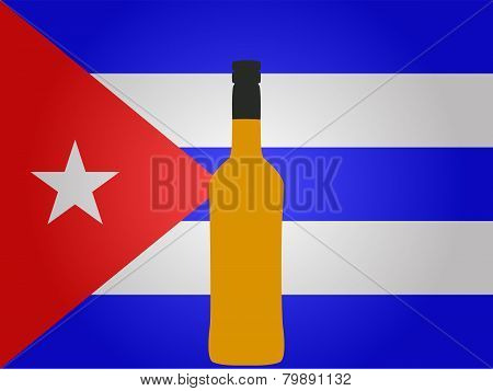 Cuban Flag With A Bottle Of Rum