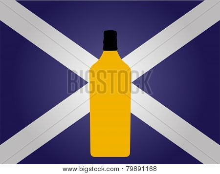 Scottish Flag With A Bottle Of Whiskey