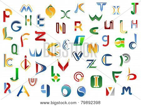 Full alphabet letters set