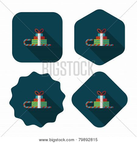 Christmas Sleigh Gift Basket Flat Icon With Long Shadow