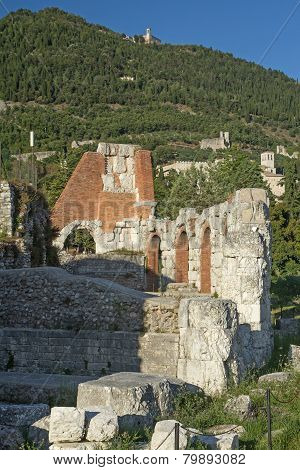 Ruins Of The Roman Theater In Gubbio (umbria, Italy)