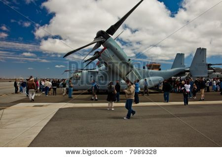 SAN CARLOS CA - JUNE 19: Spectators observing Bell-Boeing V-22 Osprey on display at the Vertical Cha