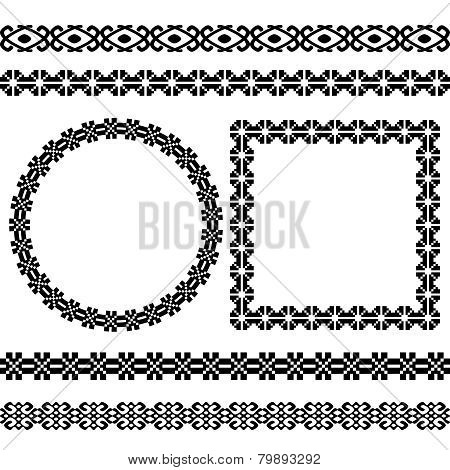 Set of the most popular ethnic geometric round and square frames and dividers