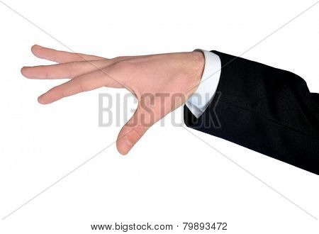 Isolated business man hand control