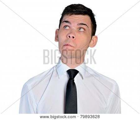 Isolated business man doubtful face