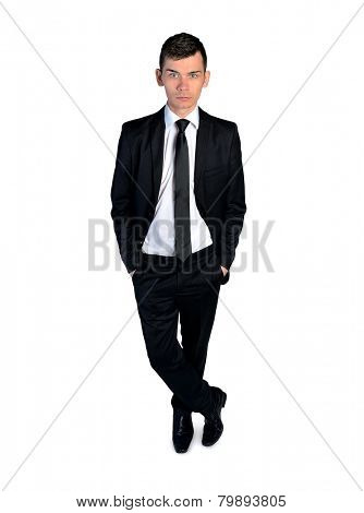 Isolated Business man standing serious